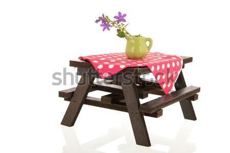 Picknicktafel houten doek bloemen voedsel eten Stockfoto © ivonnewierink