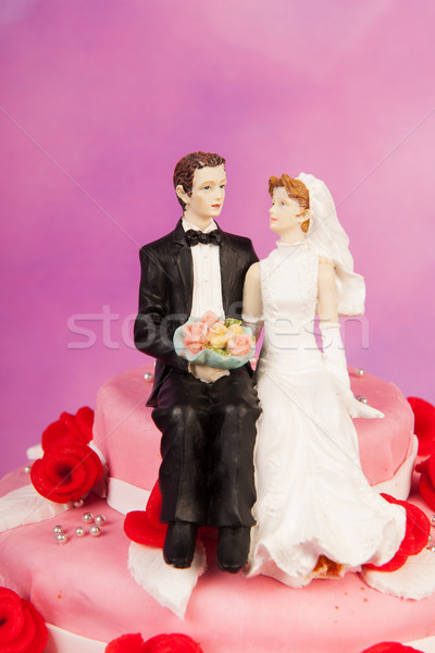 Stockfoto: Bruidstaart · vintage · paar · roze · rode · rozen · top
