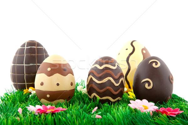 Ciocolată ouă de Paşti izolat alb Paşti Imagine de stoc © ivonnewierink
