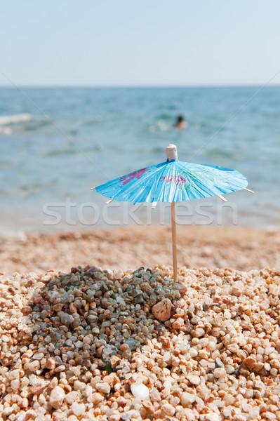 Sombra praia azul chinês papel guarda-sol Foto stock © ivonnewierink