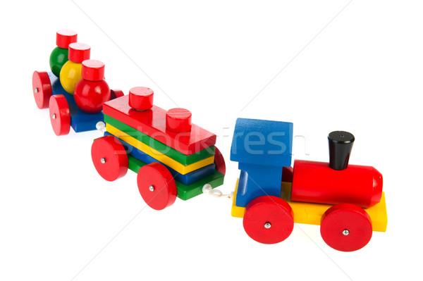 Brinquedo de madeira trem colorido isolado branco Foto stock © ivonnewierink