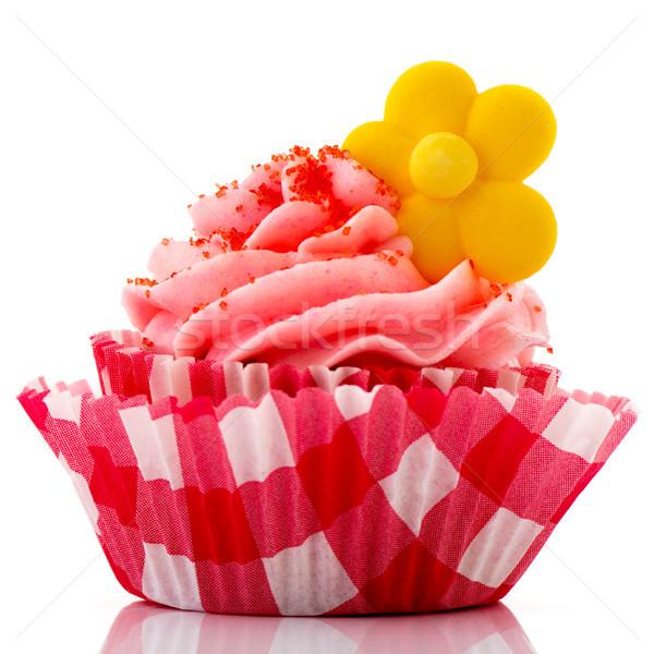 Rot Cupcake gelbe Blume Buttercreme Blume Geburtstag Stock foto © ivonnewierink