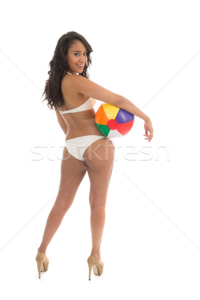 Mulher negra jogar bola de praia biquíni colorido isolado Foto stock © ivonnewierink