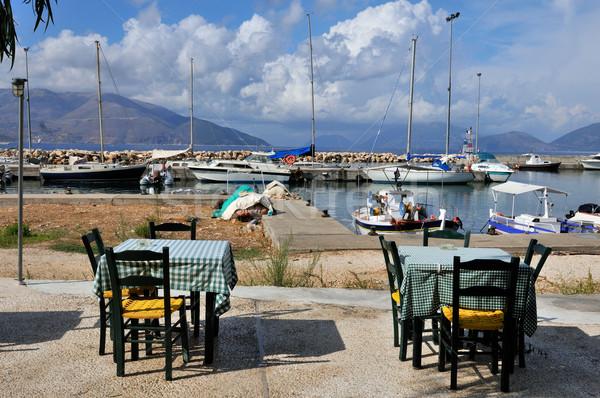 Greek terrace in harbor Stock photo © ivonnewierink