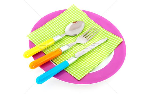 カラフル 夏 表 食べ プレート スプーン ストックフォト © ivonnewierink