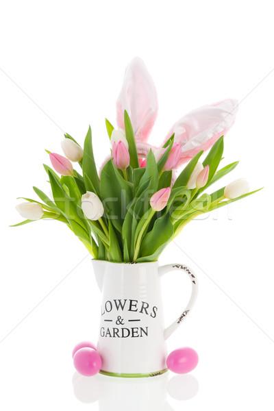 Wazon tulipany różowy biały kłosie Wielkanoc Zdjęcia stock © ivonnewierink