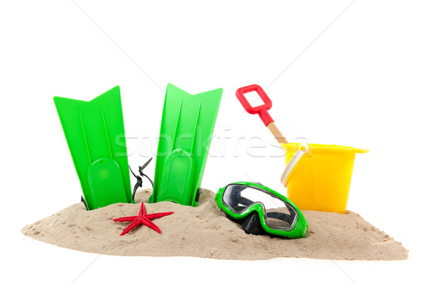 Beach with diving tools and toys Stock photo © ivonnewierink