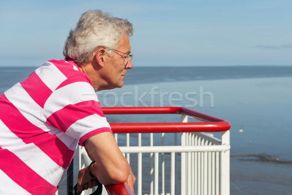 Stockfoto: Ouderen · man · boot · naar · cruise