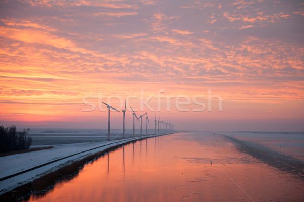 Stockfoto: Winter · rij · oranje · licht