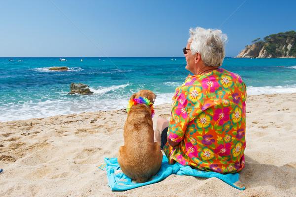 Senior homem cão praia sessão praia tropical Foto stock © ivonnewierink
