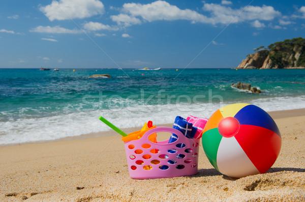 Beach bag and ball Stock photo © ivonnewierink