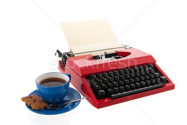 Red typewriter with blank paper Stock photo © ivonnewierink