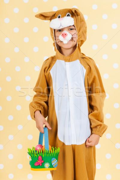 ребенка Пасху заяц яйца корзины желтый Сток-фото © ivonnewierink