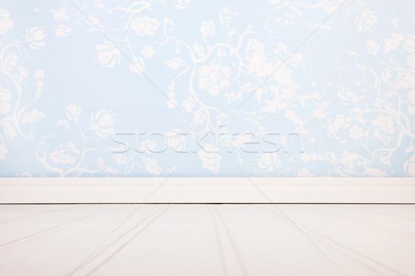 Wnętrza niebieski pokój pustym pokoju vintage ściany Zdjęcia stock © ivonnewierink