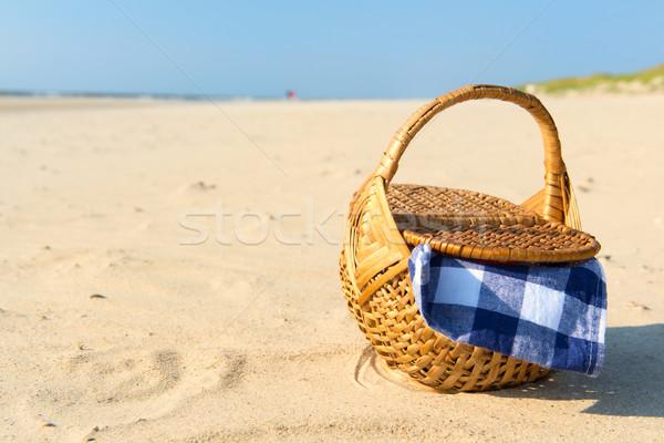 Piknik sepeti plaj mavi bez su doğa Stok fotoğraf © ivonnewierink