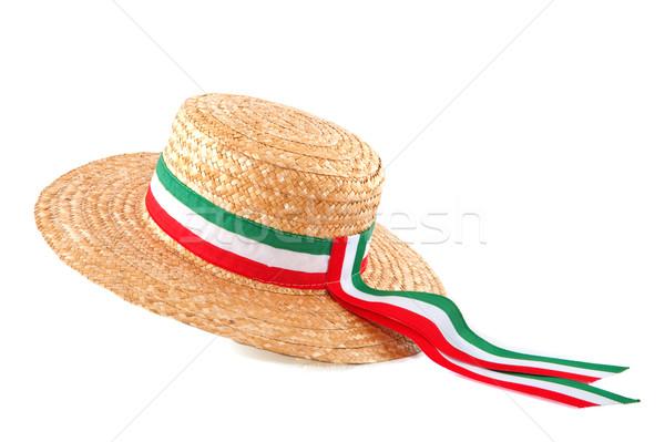 Italiano sombrero de paja bandera cinta aislado blanco Foto stock © ivonnewierink