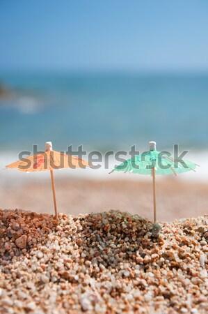 Stockfoto: Schaduw · strand · Blauw · chinese · papier · parasol