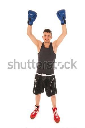 Stock photo: Boxing man winning the game