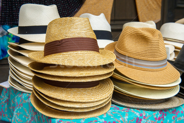 Straw summer hats Stock photo © ivonnewierink