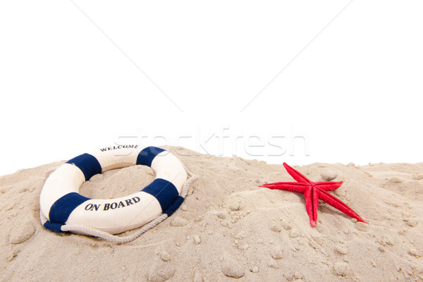 Cankurtaran simidi plaj karşılama tahta arka plan mavi Stok fotoğraf © ivonnewierink