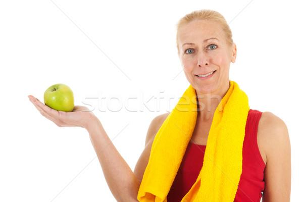 Portre olgun kadın uygunluk giyim elma yalıtılmış Stok fotoğraf © ivonnewierink