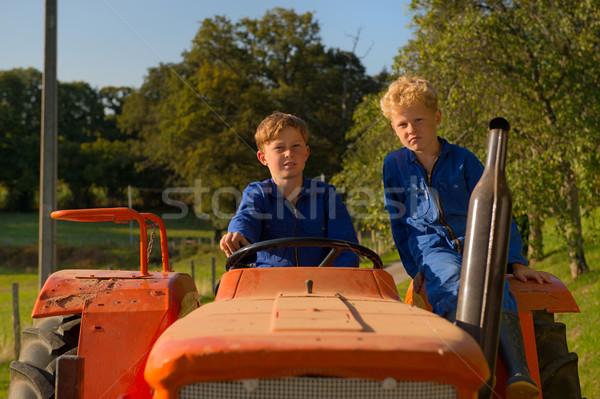 ファーム 男の子 トラクター ライディング オレンジ 夏 ストックフォト © ivonnewierink
