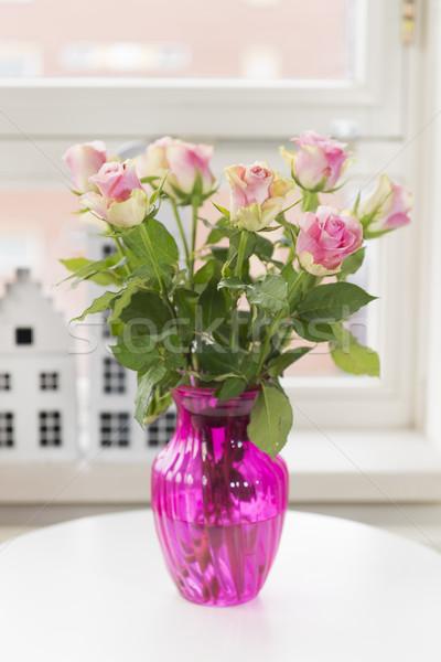 Bouquet roses in interior Stock photo © ivonnewierink
