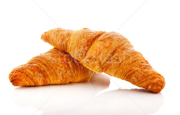 Foto stock: Croissants · isolado · branco · dois · comida · fundo