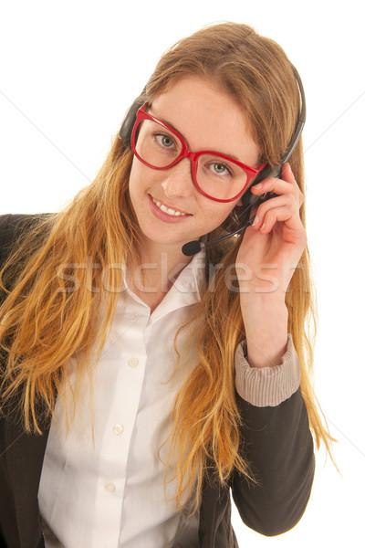 Telefon femeie setul cu cască izolat Imagine de stoc © ivonnewierink