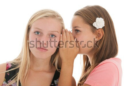 Komik haber genç kızlar dedikodu Stok fotoğraf © ivonnewierink