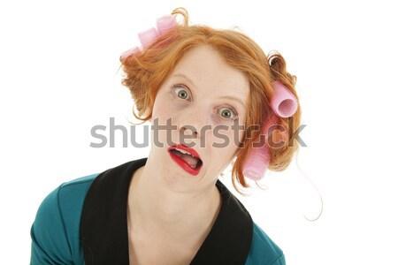 Stock fotó: Vicces · nő · haj · fiatal · nő · rúzs · izolált