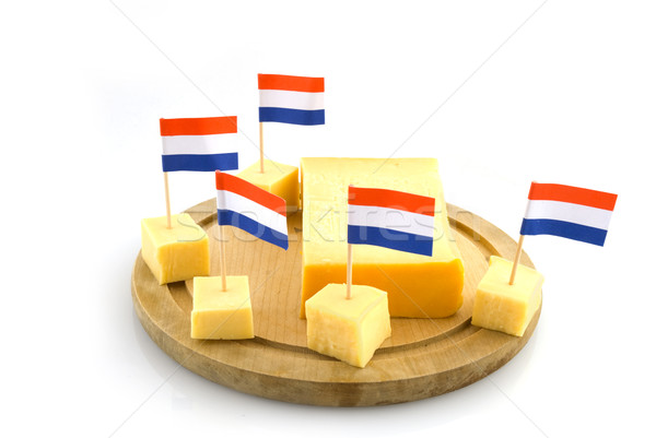 Fromages cubes drapeaux Photo stock © ivonnewierink