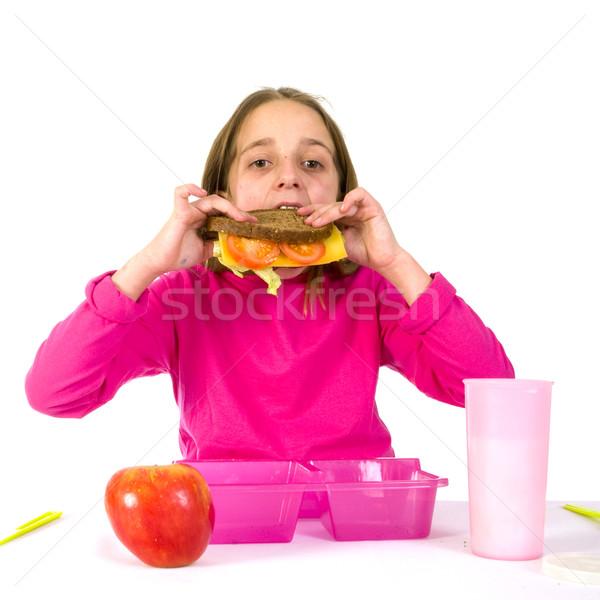 ストックフォト: 女の子 · 食べ · 学校 · ランチ