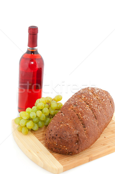 Brown bread wine and grapes Stock photo © ivonnewierink
