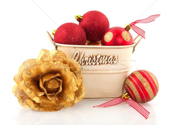 Navidad decoración rojo oro contenedor Foto stock © ivonnewierink