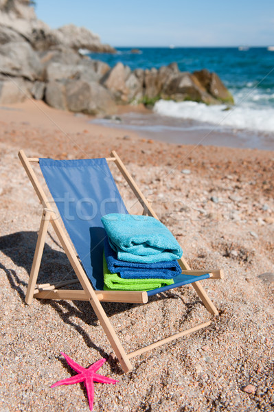 Leżak ręczniki fałdowy wakacje krajobraz plaży Zdjęcia stock © ivonnewierink
