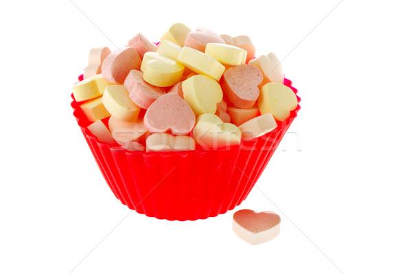 Foto stock: Colorido · dulces · corazones · rojo · taza · aislado