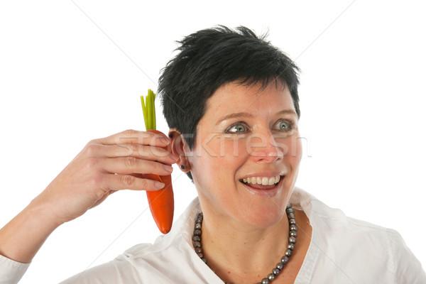 Mujer una buena noticia funny retrato alimentos negro Foto stock © ivonnewierink