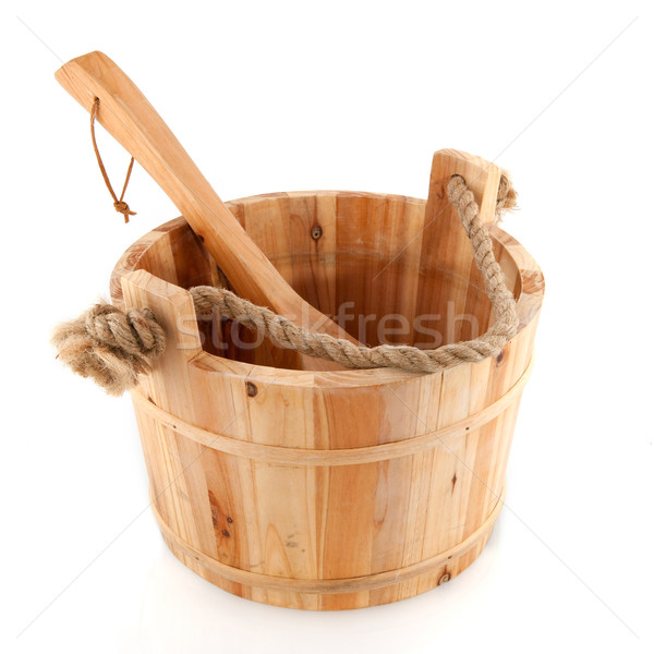 Wooden sauna bucket Stock photo © ivonnewierink