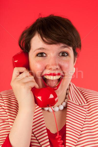 ストックフォト: 良いニュース · 電話 · 若い女性 · 女性 · ニュース · 肖像
