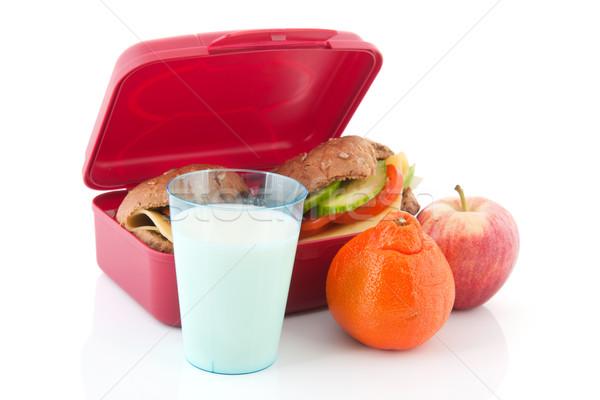 ételhordó doboz egészséges kenyér tekercsek rózsaszín barna Stock fotó © ivonnewierink