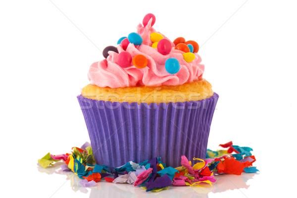 Születésnap minitorta konfetti rózsaszín vajkrém izolált Stock fotó © ivonnewierink
