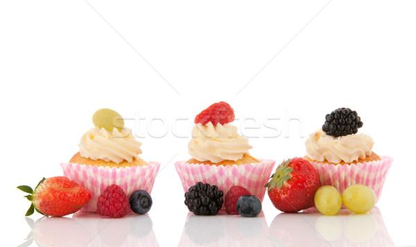 Fruit cupcakes with fresh fruit Stock photo © ivonnewierink