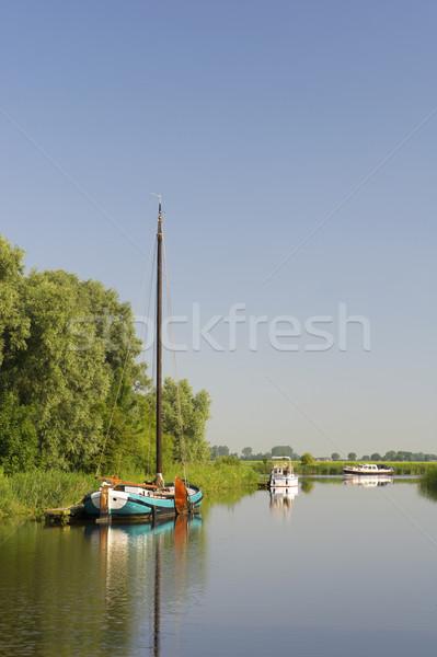 Holandês barcos rio vintage veleiro natureza Foto stock © ivonnewierink