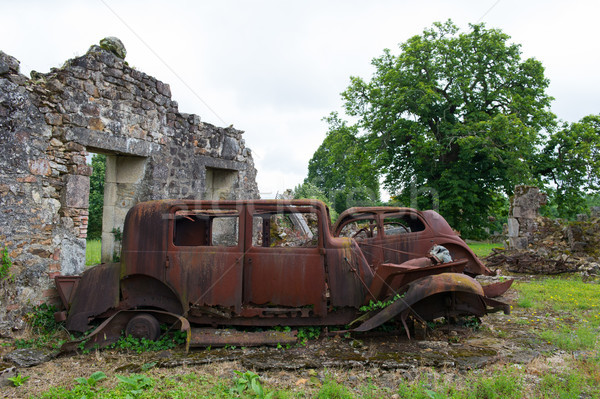 Cars of the doctor in Oradour sur Glane Stock photo © ivonnewierink