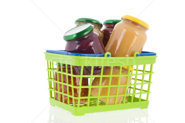 Megőrzött zöldségek bevásárlókosár üveg étel áruház Stock fotó © ivonnewierink