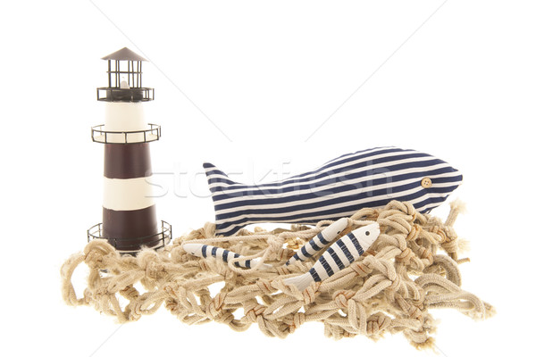 Fishing net with lighthouse Stock photo © ivonnewierink