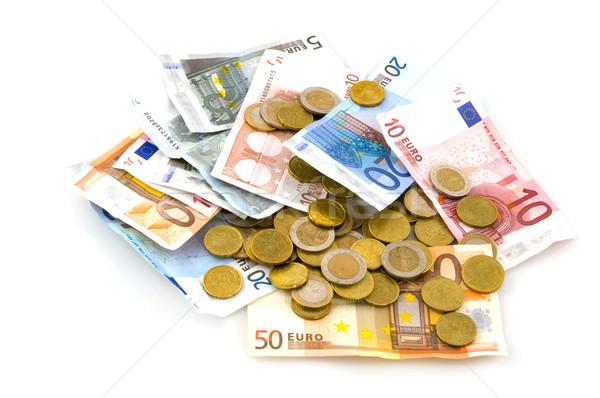 Foto stock: Muchos · euros · monedas · billetes · aislado