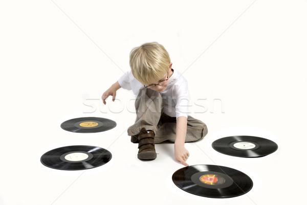 Kind zwarte vinyl spelen muziek Stockfoto © ivonnewierink