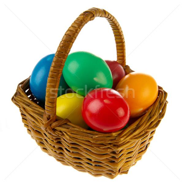 Stock fotó: Kosár · húsvéti · tojások · festett · különböző · színek · zöld